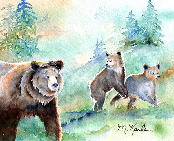 Painting - No Cub Left Behind - Grizzly Bears by Marsha Karle