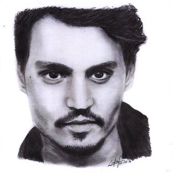 Black Drawing - Johnny Depp Drawing By Sofia Furniel by Jul V