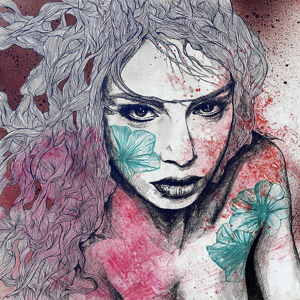 Beautiful Girl Drawing - No Hope In Sight - Purple by Marco Paludet