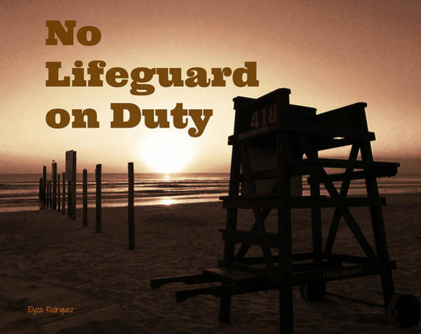 Photograph - No Lifeguard On Duty Amber Limited Special by Elyza Rodriguez