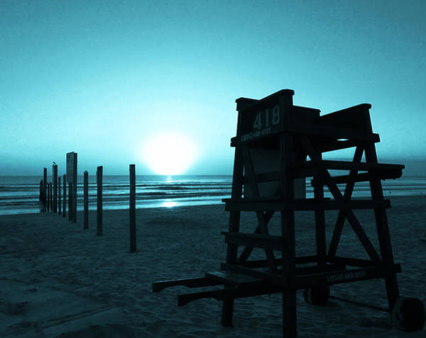 Photograph - No Lifeguard On Duty- Blue by Elyza Rodriguez