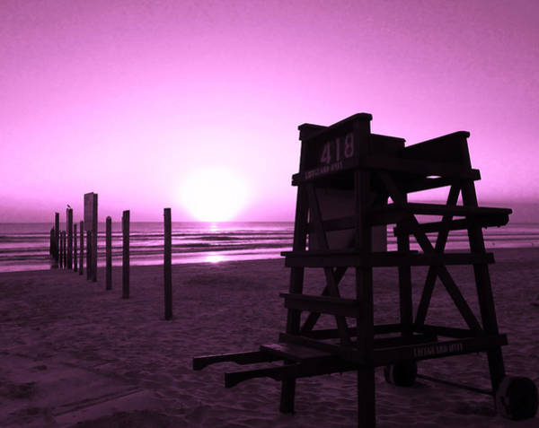 Photograph - No Lifeguard On Duty- Purple by Elyza Rodriguez
