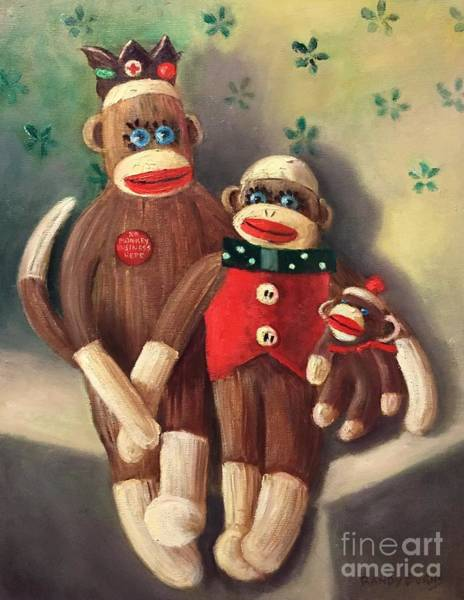 Sock Monkey Painting - No Monkey Business Here 2 by Randy Burns