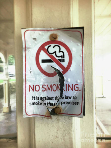 Cigar Photograph - No Smoking Sign by Tom Gowanlock
