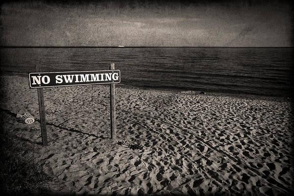 New England Coast Wall Art - Photograph - No Swimming by Evelina Kremsdorf