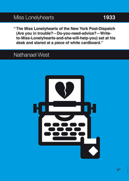 West Digital Art - No011-my-miss Lonelyhearts-book-icon-poster by Chungkong Art