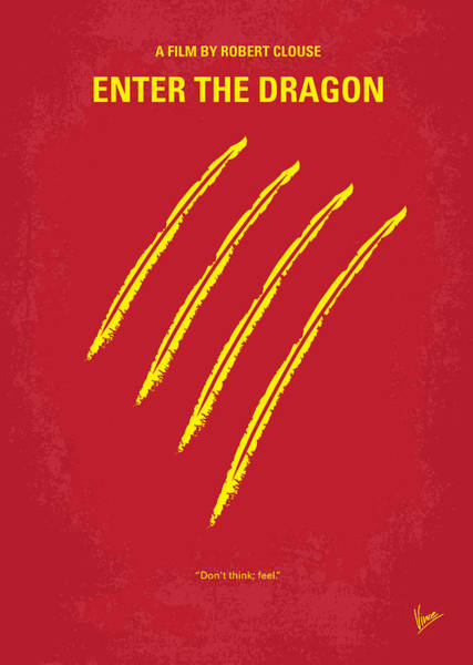 Hong Digital Art - No026 My Enter The Dragon Minimal Movie Poster by Chungkong Art