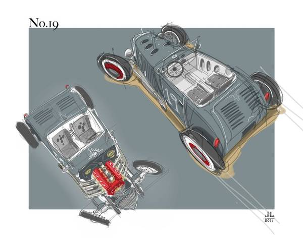 Hot Rod Drawing - No.19 by Jeremy Lacy