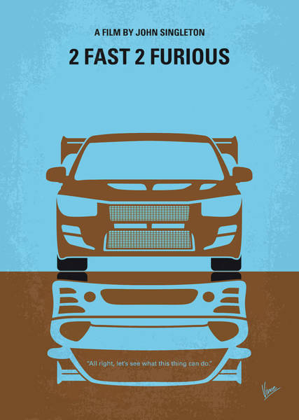 Miami Digital Art - No207-2 My 2 Fast 2 Furious Minimal Movie Poster by Chungkong Art