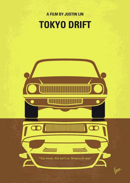 Races Digital Art - No207-3 My Tokyo Drift Minimal Movie Poster by Chungkong Art