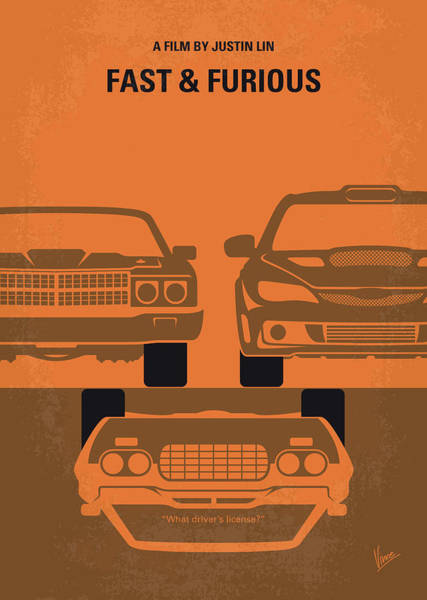 Racer Digital Art - No207-4 My Fast And Furious Minimal Movie Poster by Chungkong Art
