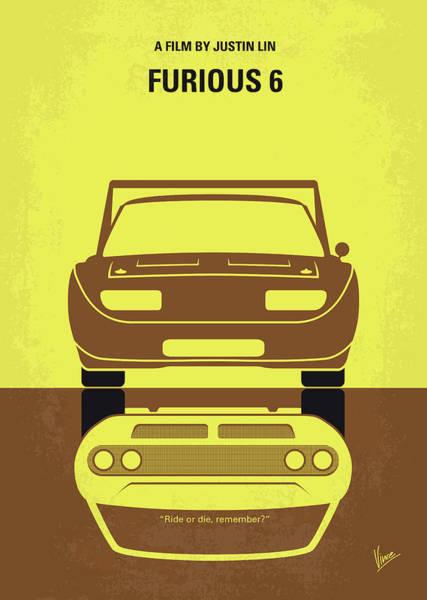 Vin Wall Art - Digital Art - No207-6 My Furious 6 Minimal Movie Poster by Chungkong Art