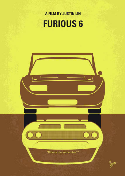 Dwayne Johnson Wall Art - Digital Art - No207-6 My Furious 6 Minimal Movie Poster by Chungkong Art