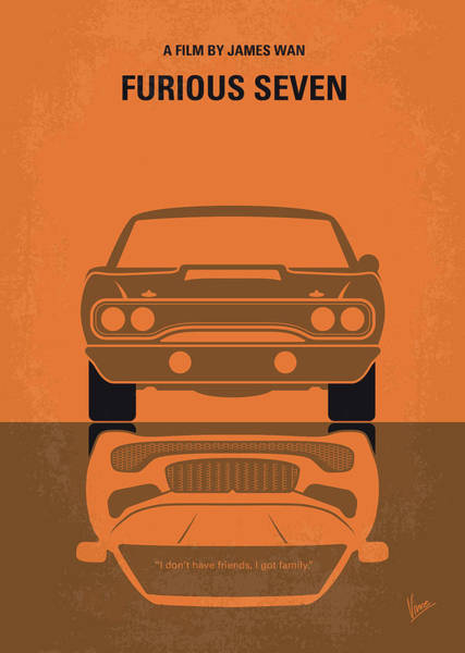 Wall Art - Digital Art - No207-7 My Furious 7 Minimal Movie Poster by Chungkong Art
