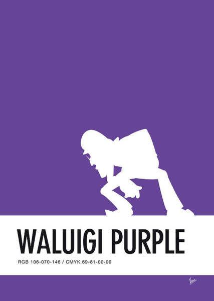 Colour Digital Art - No42 My Minimal Color Code Poster Waluigi by Chungkong Art