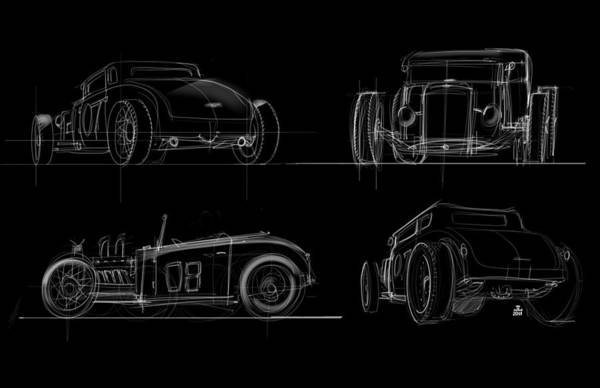 Hot Rod Drawing - No.7 by Jeremy Lacy