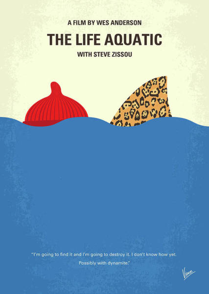 With Wall Art - Digital Art - No774 My The Life Aquatic With Steve Zissou Minimal Movie Poster by Chungkong Art