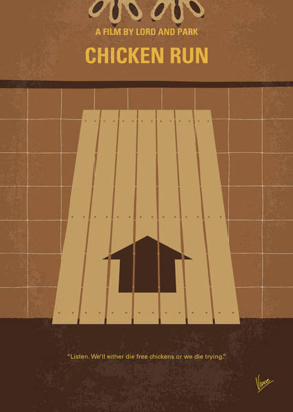 Machines Digital Art - No789 My Chicken Run Minimal Movie Poster by Chungkong Art