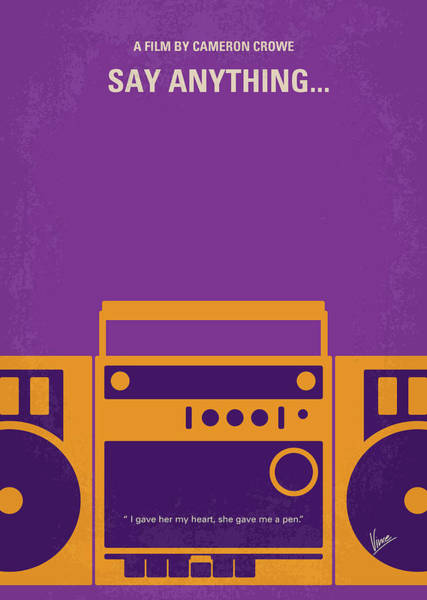 Wall Art - Digital Art - No886 My Say Anything Minimal Movie Poster by Chungkong Art