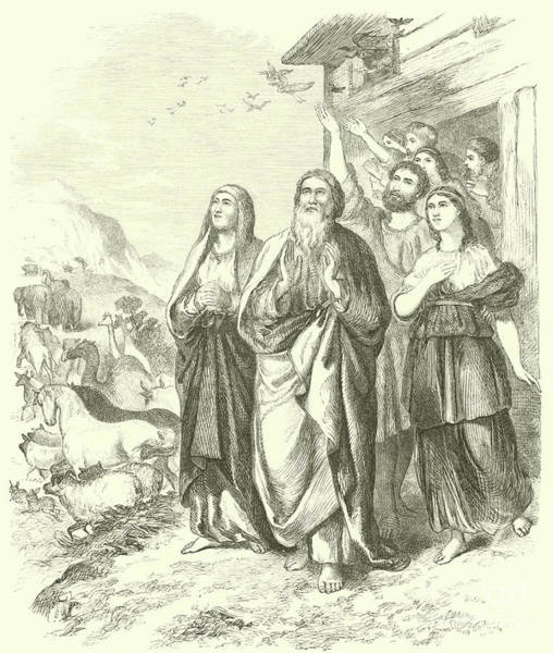 Noah Wall Art - Drawing - Noah And His Family Leaving The Ark, Genesis, Viii, 16 by English School