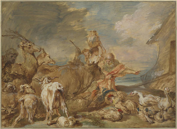 Wall Art - Drawing - Noah Leading The Animals Into The Ark by Giovanni Benedetto Castiglione