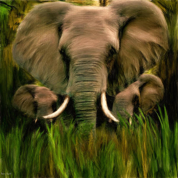 African Bush Elephant Photograph - Noble Ones by Lourry Legarde