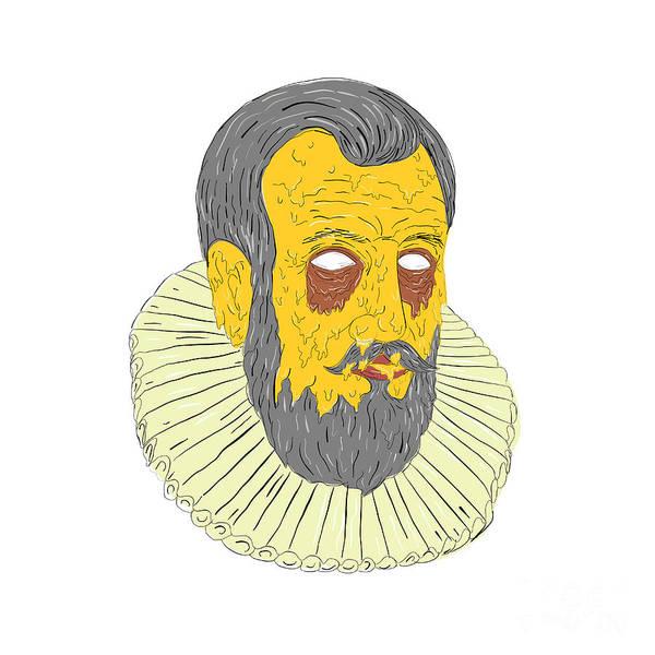 Grotesque Digital Art - Nobleman Wearing Ruff Collar Grime Art by Aloysius Patrimonio