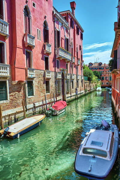 Photograph - Boats And Pink Building In Venice, Italy by Fine Art Photography Prints By Eduardo Accorinti