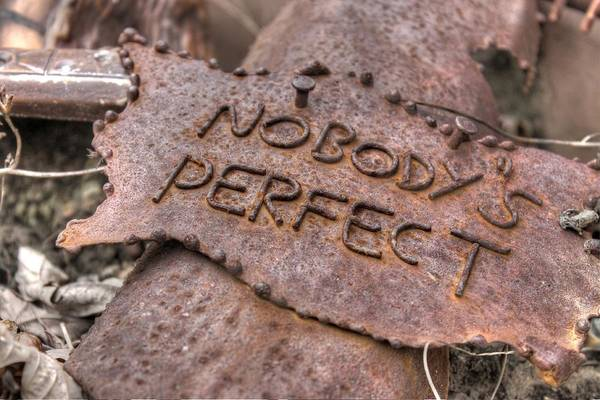 Wall Art - Photograph - Nobodys Perfect Rust Rusty Sign Signage Rustic by Jane Linders