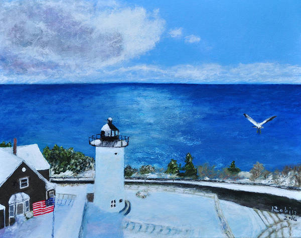 Falmouth Wall Art - Painting - Nobska From Above by Robin Manning