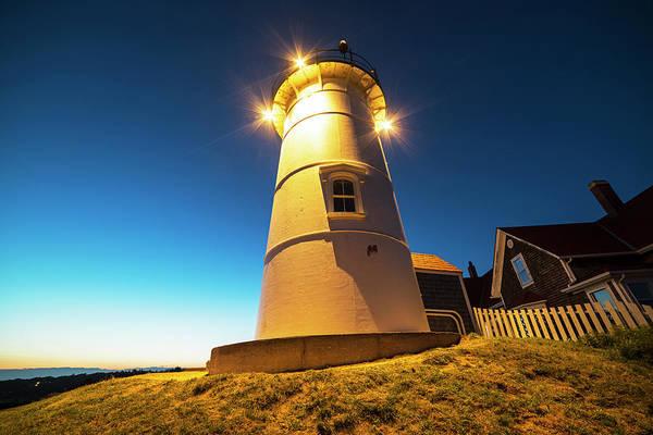 Photograph - Nobska Light Falmouth Ma Cape Cod Window Shadow by Toby McGuire