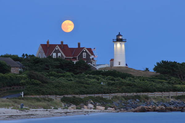 Wall Art - Photograph - Nobska Lighthouse Moonrise by John Burk