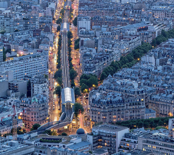 Photograph - Nocturnal Aerial Of Gare Montparnasse  by Gary Karlsen