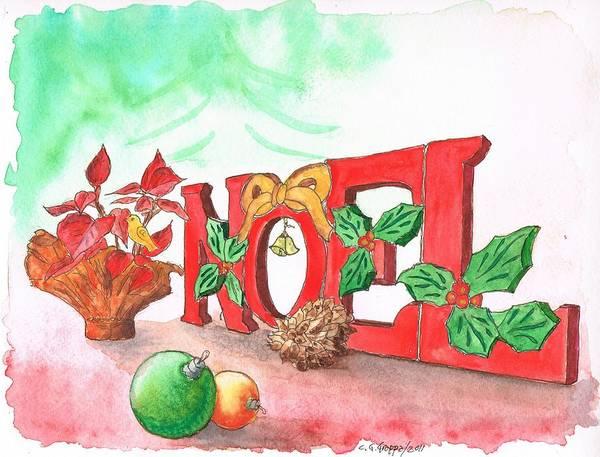 Acuarela Painting - Noel-christmas-greeting-card by Carlos G Groppa