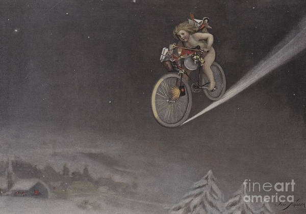 Delivering Painting - Noel Fin De Siecle Vintage Christmas Card,  by Jose Frappa