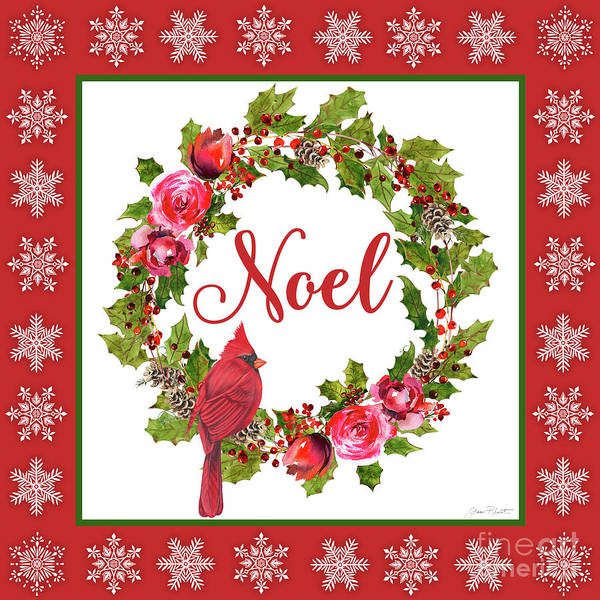 Wall Art - Painting - Noel Wreath by Jean Plout