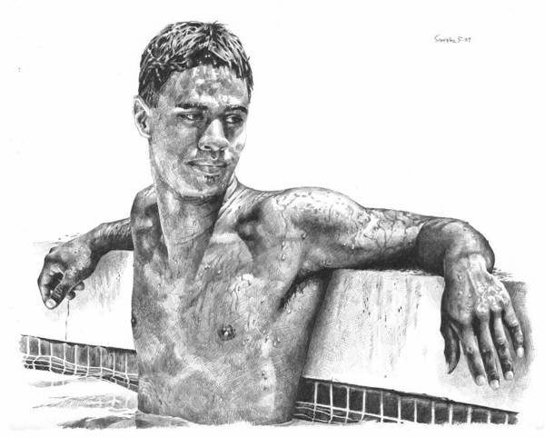 Wet Drawing - Nohea In The Pool by Douglas Simonson