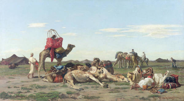 Trader Painting - Nomads In The Desert by Georges Washington