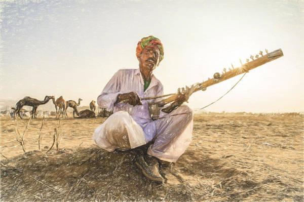 Tribal Dance Digital Art - Nomads Plays Ravanahatha In The Deserts On Pushkar. by Muslianshah Masrie
