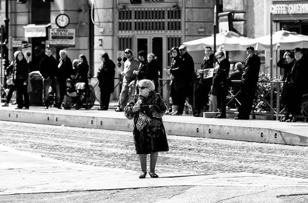 Photograph - Nonna Crossing In Rome by John Rizzuto