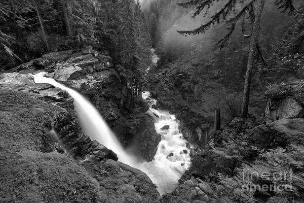 Photograph - Nooksack Falls Landscape - Back And White by Adam Jewell