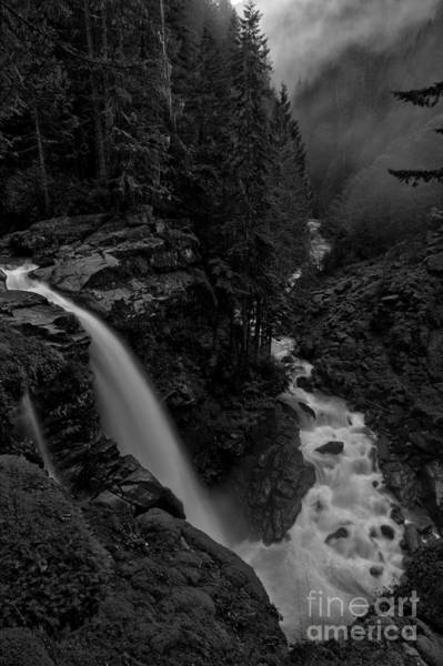 Photograph - Nooksack Plunge Black And White by Adam Jewell