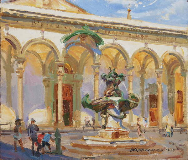Florence Painting - Noon In The Square Of St. Annunziata by Victoria Kharchenko