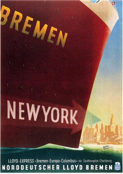 Bremen Wall Art - Mixed Media - Norddeutscher Lloyd Bremen - New York - Retro Travel Poster - Vintage Poster by Studio Grafiikka