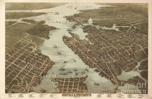 Photograph - Norfolk And Portsmouth Map by Dale Powell
