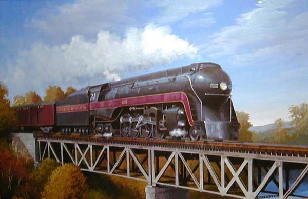 Loco Wall Art - Painting - Norfolk And Western Hudson. by Mike Jeffries