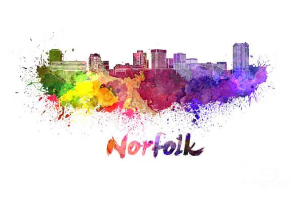 Norfolk Virginia Wall Art - Painting - Norfolk Skyline In Watercolor by Pablo Romero