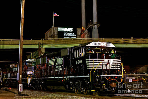 Norfolk Va Wall Art - Photograph - Norfolk Southern By Night by Mark East