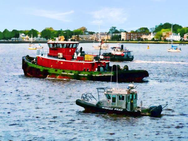 Photograph - Norfolk Va - Police Boat And Two Tugboats by Susan Savad