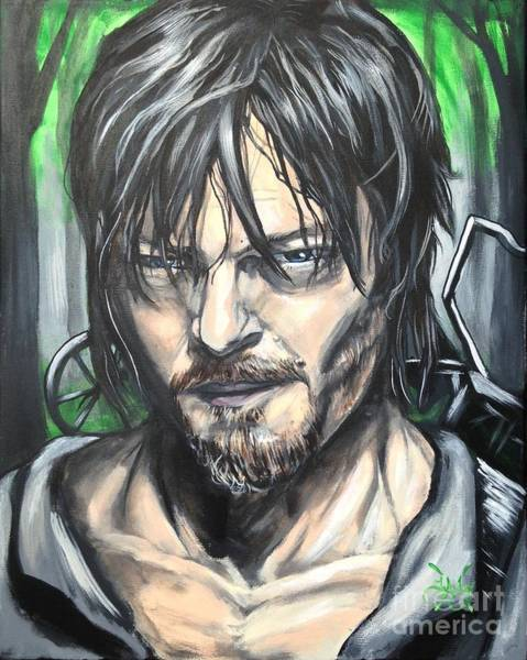 The Walking Dead Painting - Norman Reedus As Daryl Dixin by Tyler Haddox